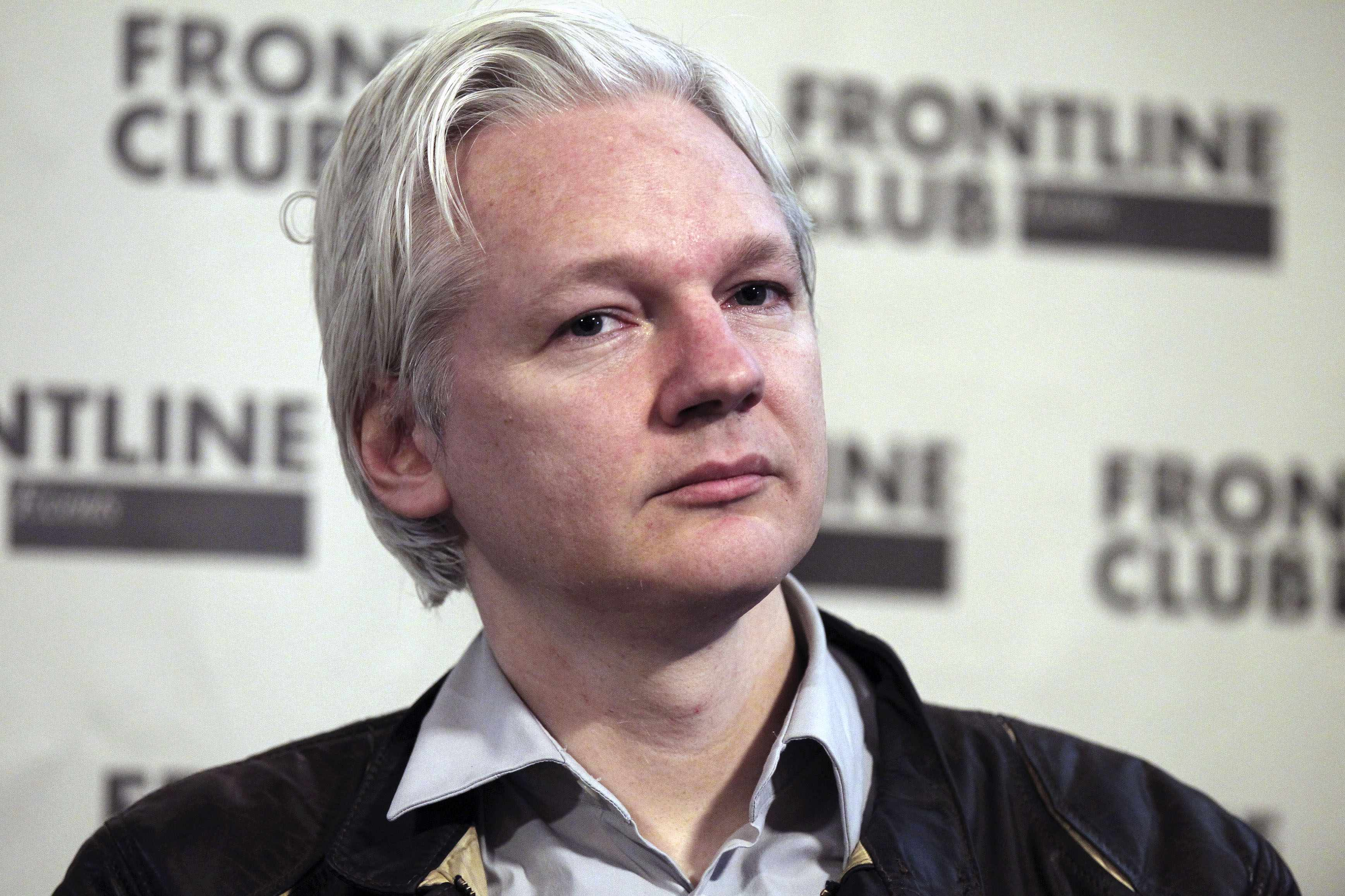 File photo of WikiLeaks founder Julian Assange speaking at a news conference in London